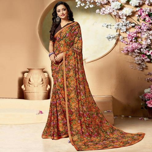 Jazzy Multi Color Colored Casual Printed Chiffon Saree