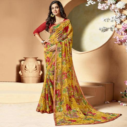 Innovative Mustard Yellow Colored Casual Printed Chiffon Saree