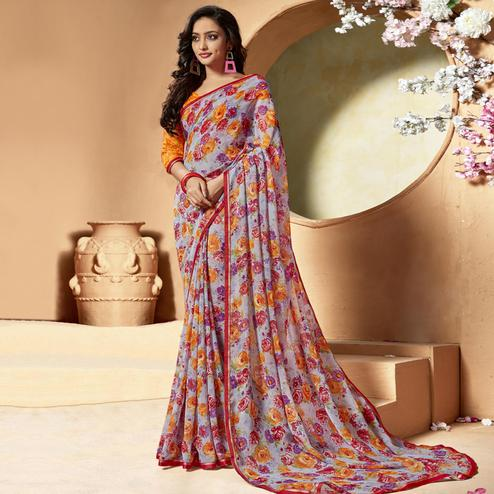 Eye-catching Grey Colored Casual Printed Chiffon Saree
