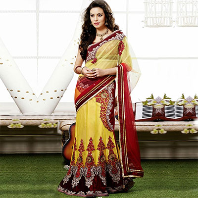 Maroon - Yellow Party Wear Lehenga Saree