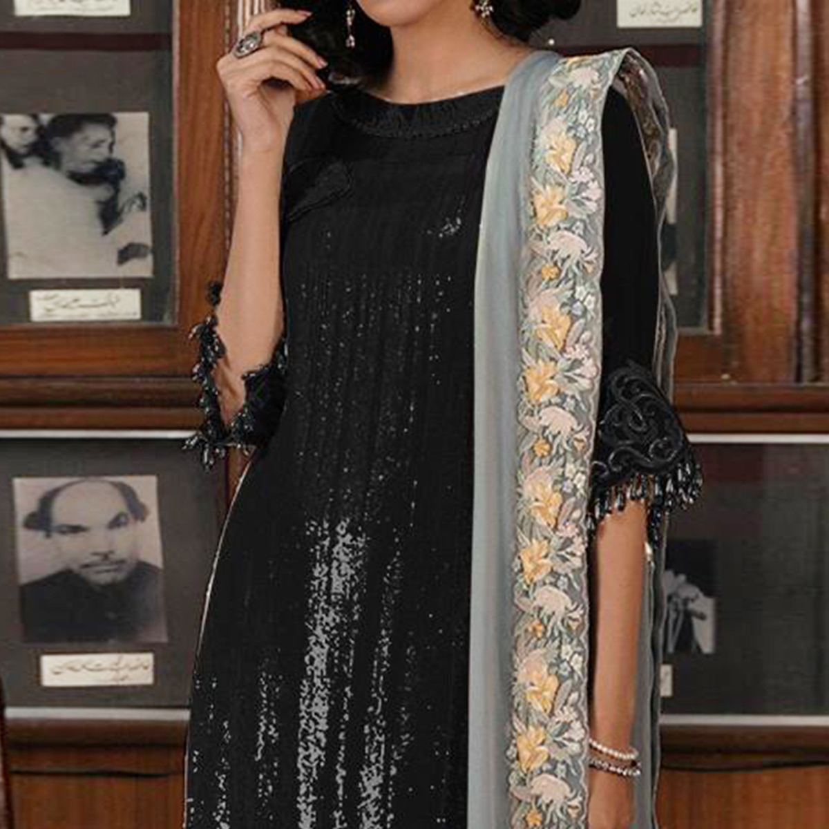 Magnetic Black Colored Partywear Embroidered Georgette Pant Style Kashmiri Suit