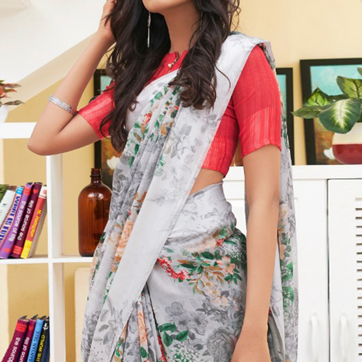 Elegant Gray Colored Casual Floral Printed Linen-Art Silk Saree