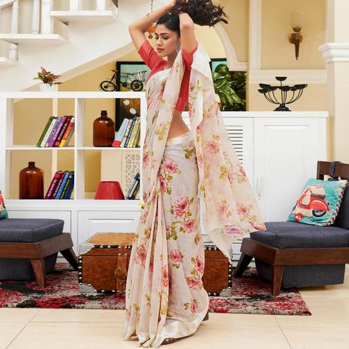 Radiant Off White Colored Casual Floral Printed Linen-Art Silk Saree