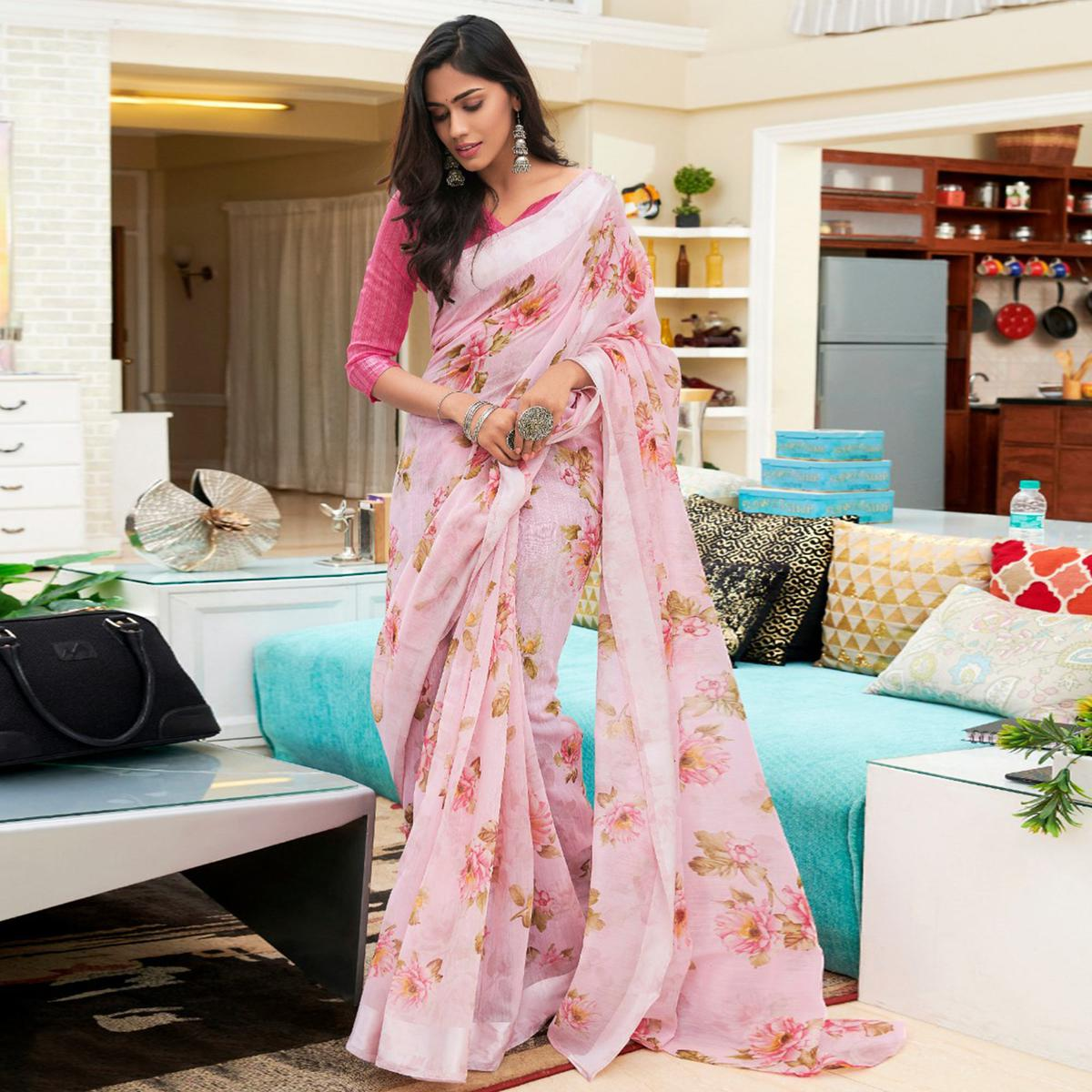 Pleasant Pink Colored Casual Floral Printed Linen-Art Silk Saree