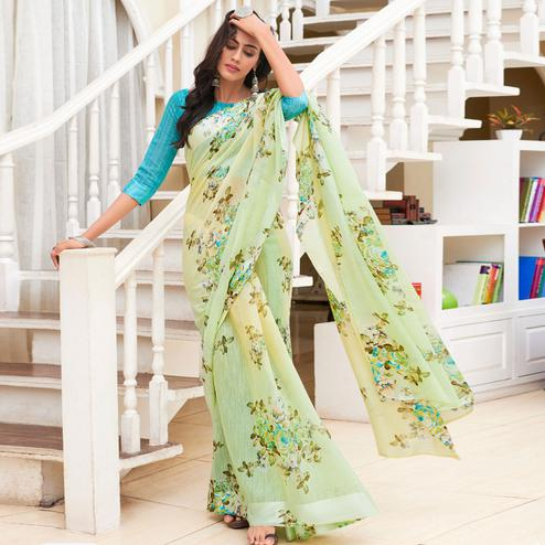 Opulent Mint Green Colored Casual Floral Printed Linen-Art Silk Saree