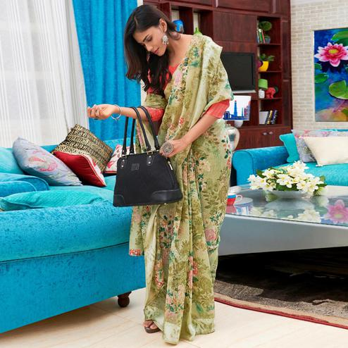 Glowing Olive Green Colored Casual Floral Printed Linen-Art Silk Saree
