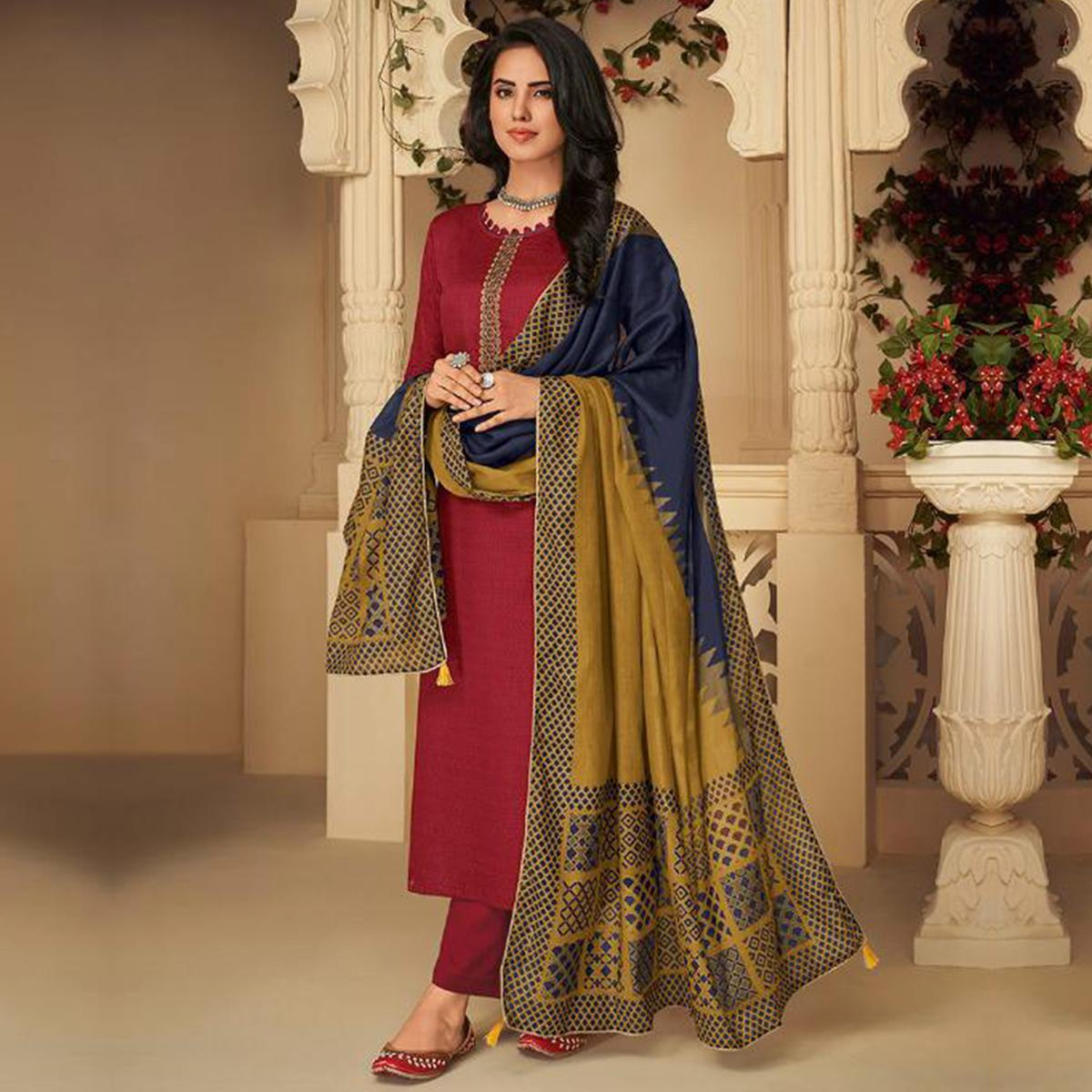 Jazzy Maroon Casual Embroidered Pure Jam Silk Suit