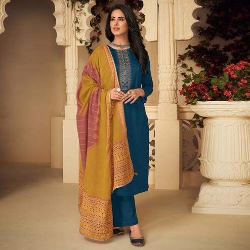 Delightful Rama Blue Casual Embroidered Pure Jam Silk Suit