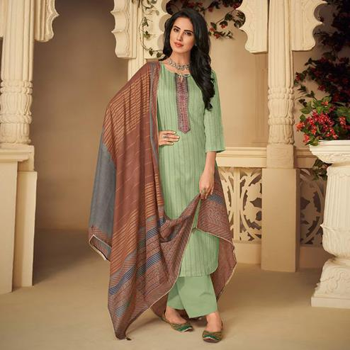 Engrossing Mint Green Casual Embroidered Pure Jam Silk Suit