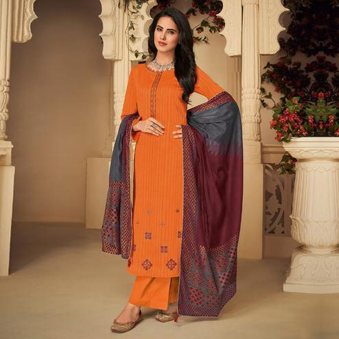 Captivating Orange Casual Embroidered Pure Jam Silk Suit