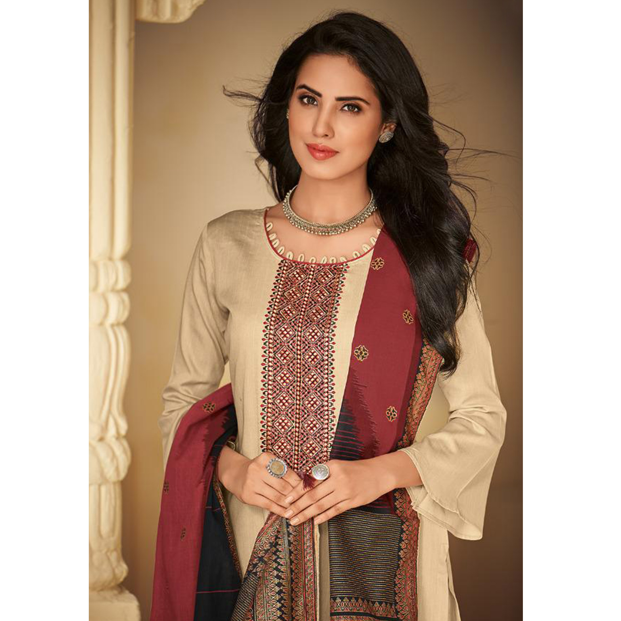 Eye-catching Cream Casual Embroidered Pure Jam Silk Suit