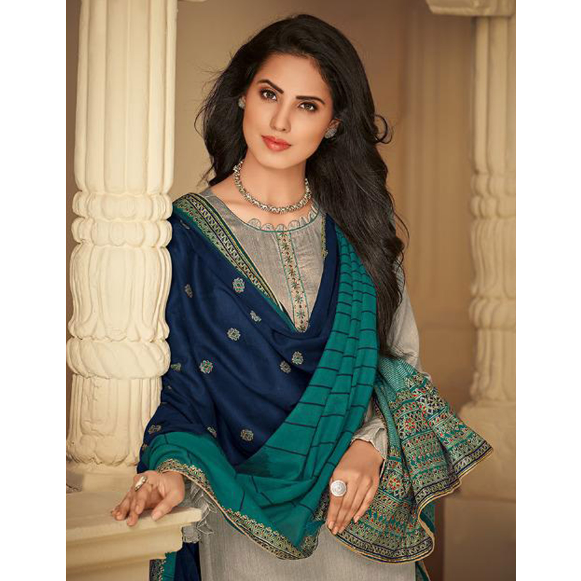 Fantastic Grey Casual Embroidered Pure Jam Silk Suit