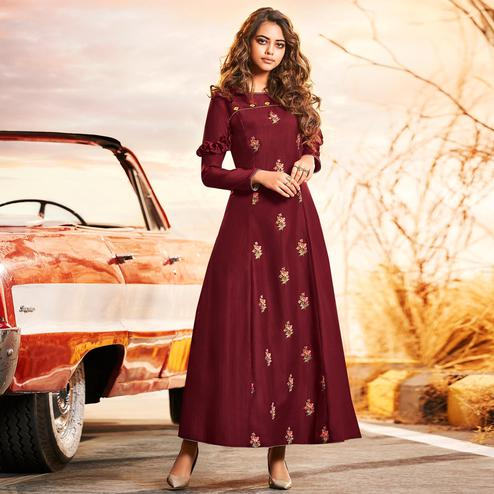 Preferable Maroon Colored Partywear Embroidered Muslin Silk Gown