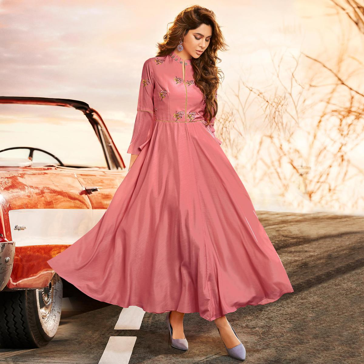 Marvellous Pink Colored Partywear Embroidered Muslin Silk Gown