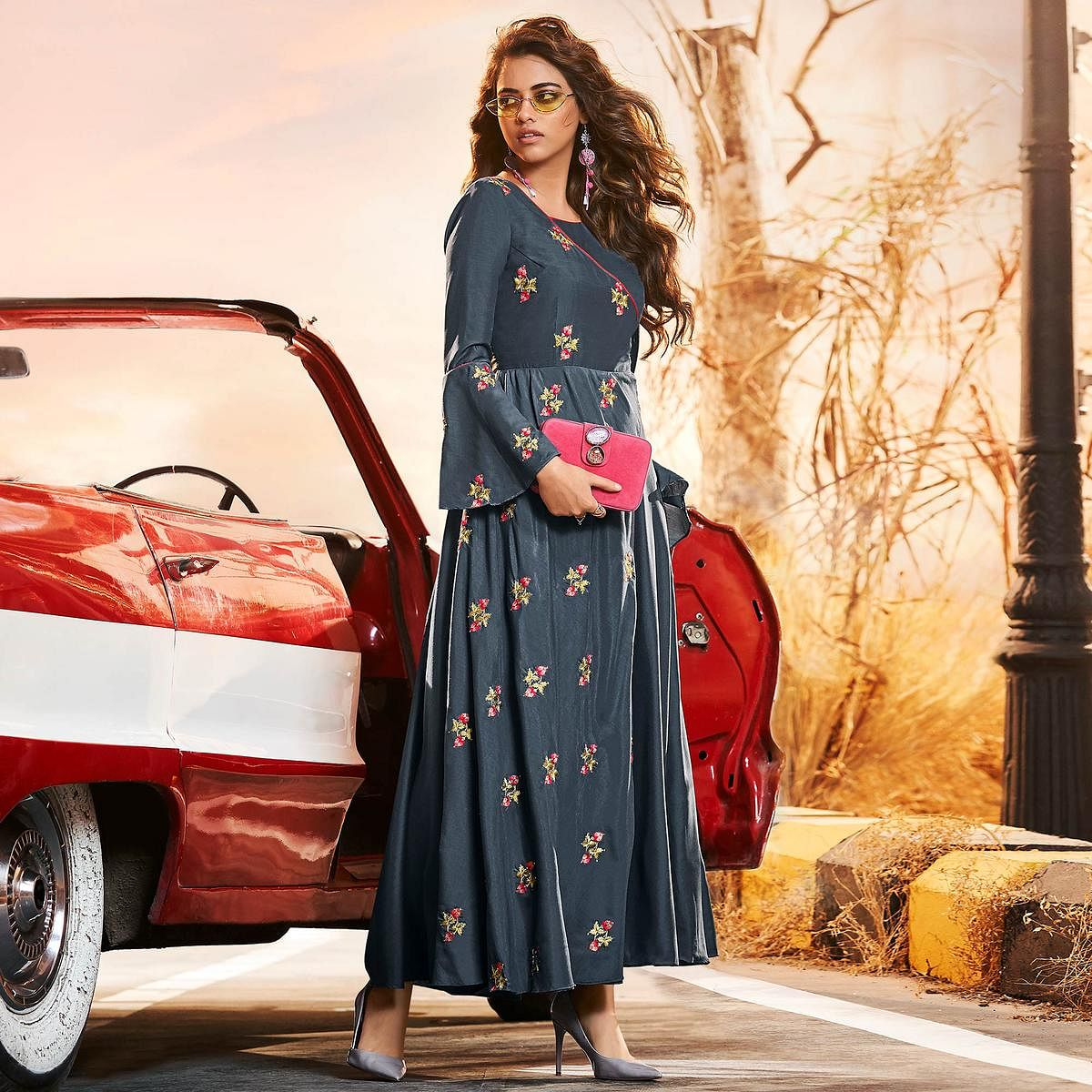 Flamboyant Blue Colored Partywear Embroidered Muslin Silk Gown