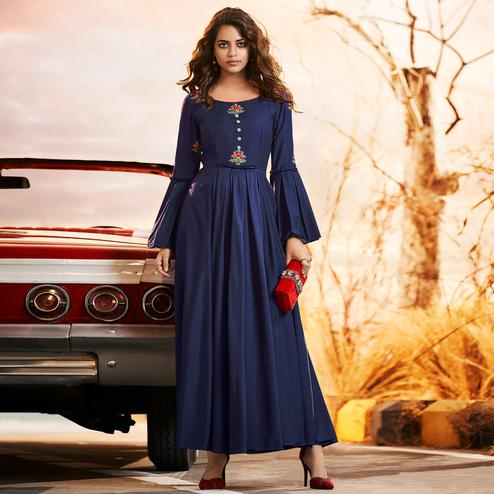 Alluring Navy Blue Colored Partywear Embroidered Muslin Silk Gown