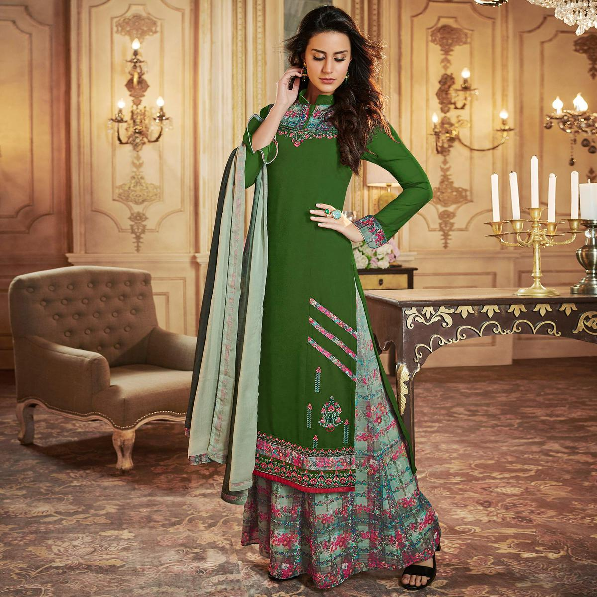 Flattering Green Colored Party Wear Embroidered Georgette Palazzo Suit