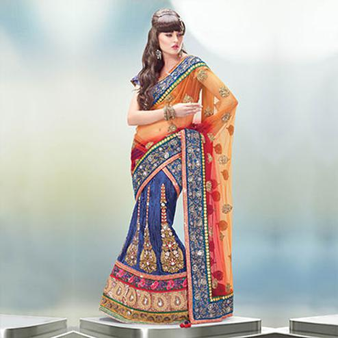 Orange - Red - Blue Velvet Lehenga