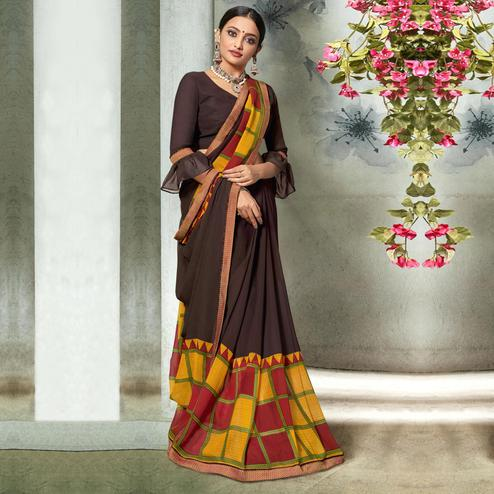 Gorgeous Brown Colored Casual Printed Georgette Saree
