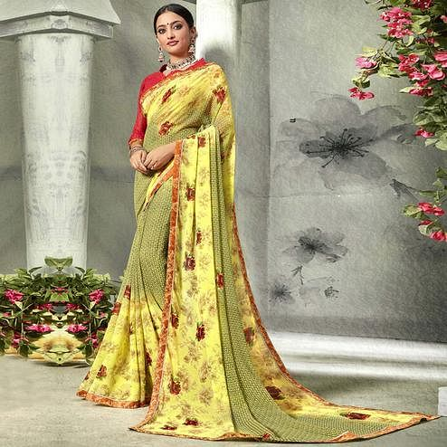 Ideal Yellow Colored Casual Printed Georgette Saree