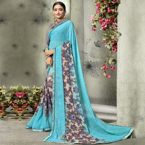 Lovely Sky Blue Colored Casual Printed Georgette Saree