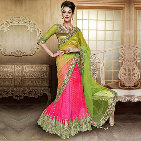 Delightful Pink - Green Leaf Cut Lehenga Choli