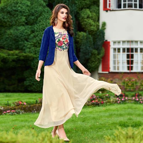 Sensational Cream Colored Partywear Embroidered Georgette Fancy Kurti
