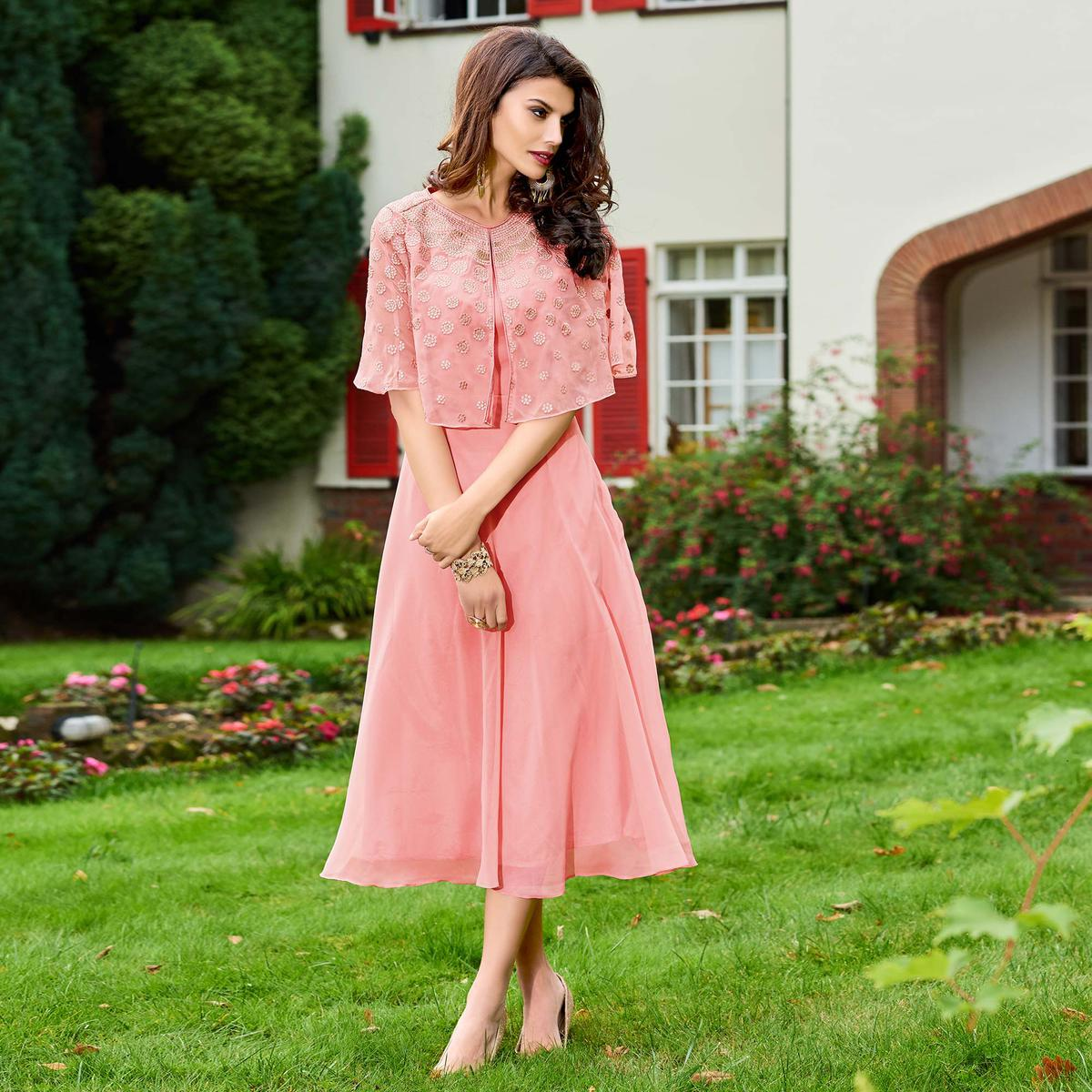 Alluring Pink Colored Partywear Embroidered Georgette Fancy Kurti