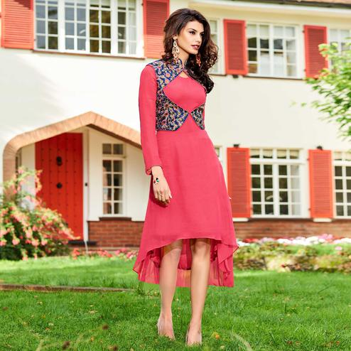 Stunning Pink Colored Partywear Embroidered Georgette Fancy High-Low Kurti