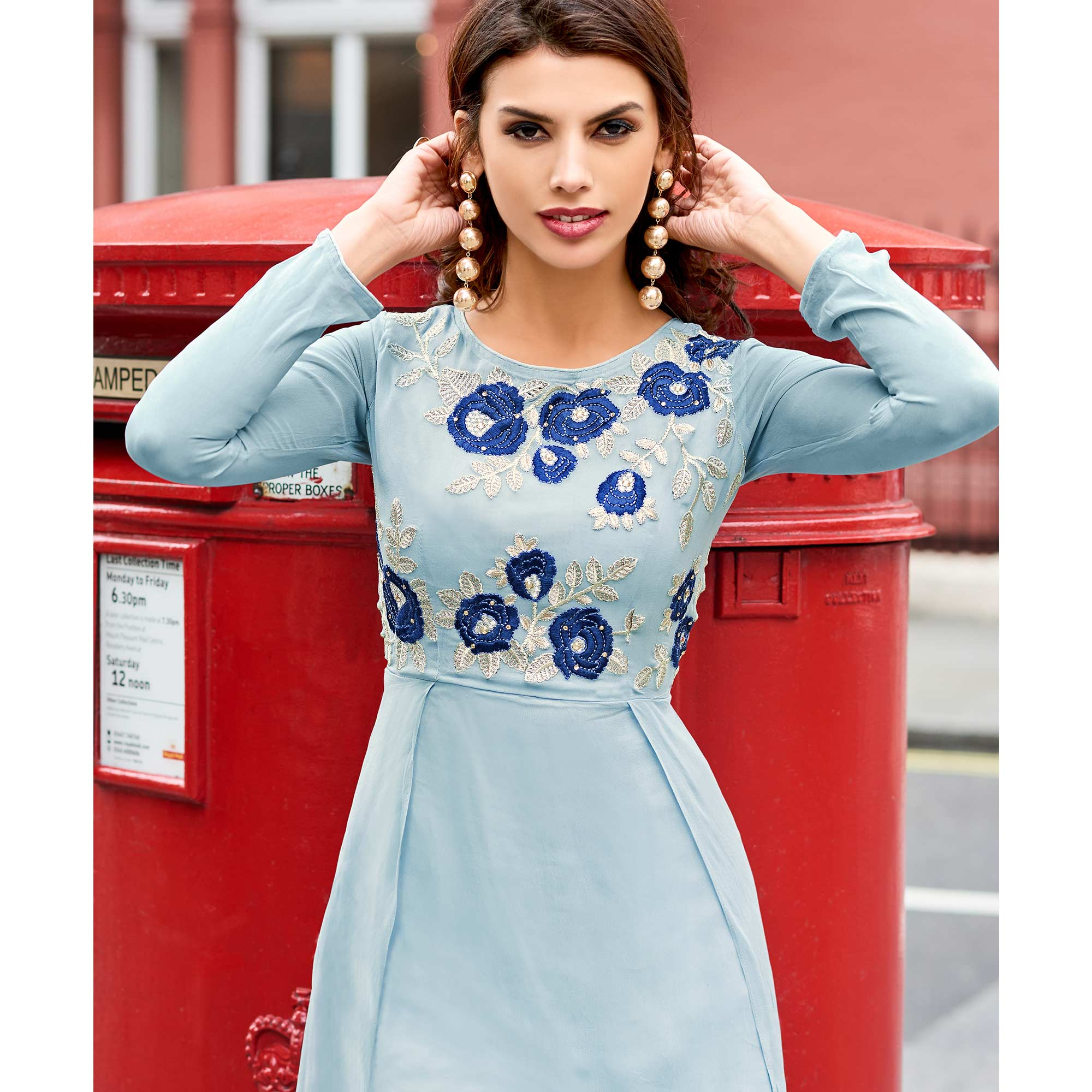 Dazzling Sky Blue Colored Partywear Embroidered Georgette Fancy Kurti
