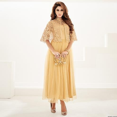 Adorning Golden Colored Partywear Embroidered Georgette Fancy Kurti