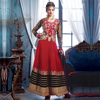 Red - Black Patch Work Pure Georgette Anarkali