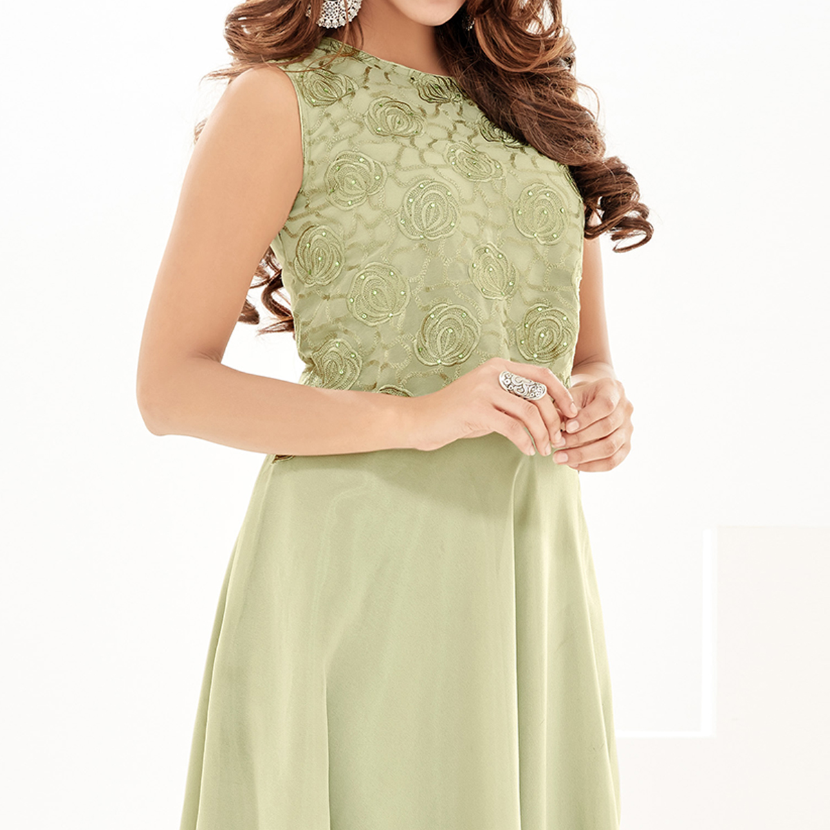 Capricious Pista Green Colored Partywear Embroidered Georgette Fancy Kurti