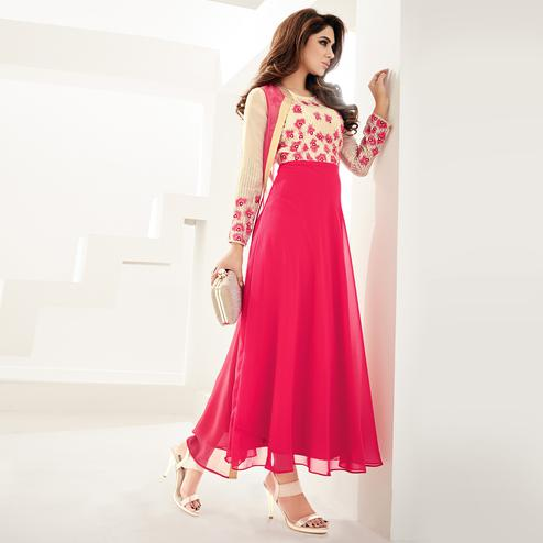 Entrancing Pink Colored Partywear Embroidered Georgette Fancy Kurti