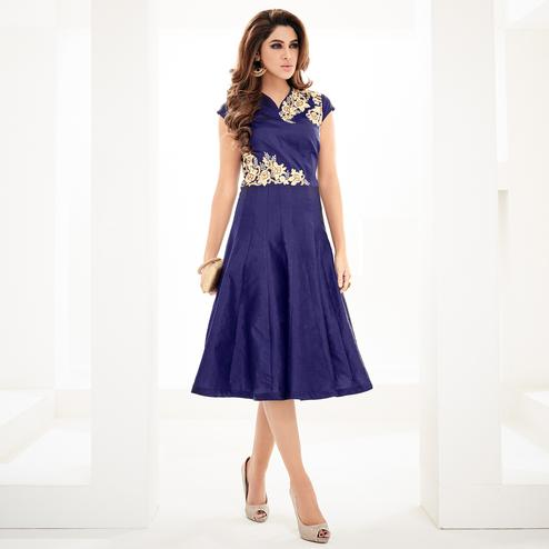 Groovy Blue Colored Partywear Embroidered Georgette Fancy Kurti