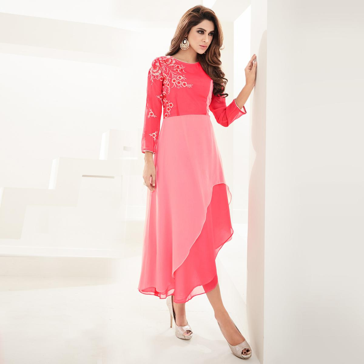 Prominent Pink Colored Partywear Embroidered Georgette Fancy Kurti