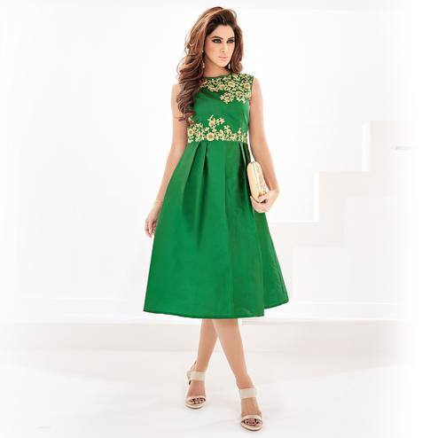 Pleasant Green Colored Partywear Embroidered Georgette Fancy Kurti