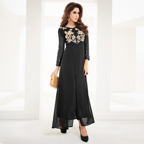 Opulent Black Colored Partywear Embroidered Georgette Fancy Kurti