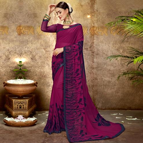 Arresting Magenta Pink Colored Casual Printed Georgette Saree