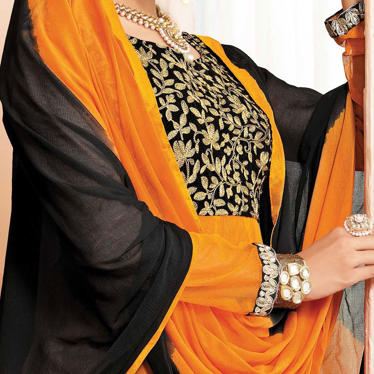 Orange - Black Embroidered Work Anarkali Suit