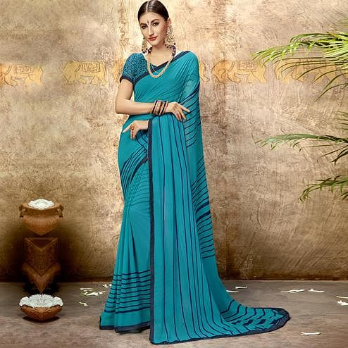 Sophisticated Sky Blue Colored Casual Printed Georgette Saree