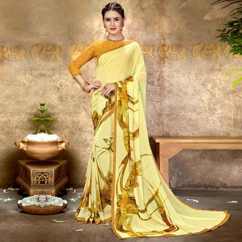 Trendy Cream Colored Casual Printed Georgette Saree