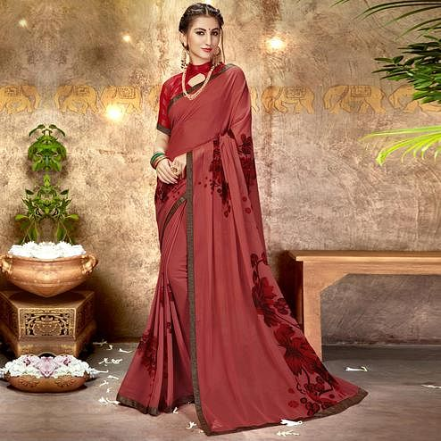 Radiant Light Red Colored Casual Printed Georgette Saree