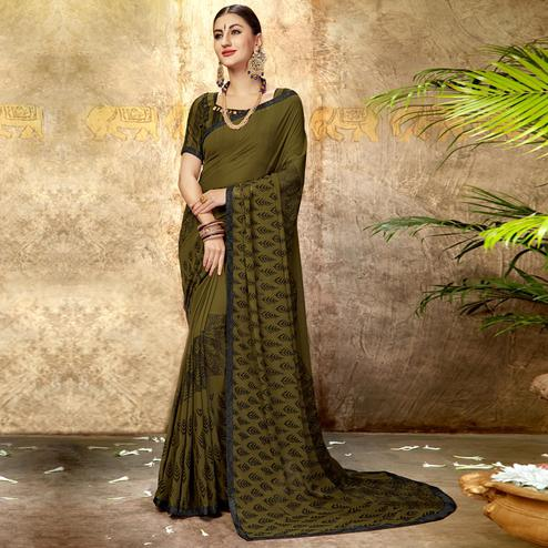 Energetic Mehendi Green Colored Casual Printed Georgette Saree