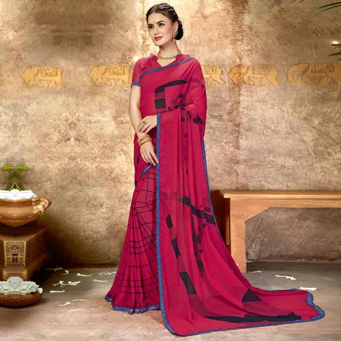 Glowing Pink Colored Casual Printed Georgette Saree
