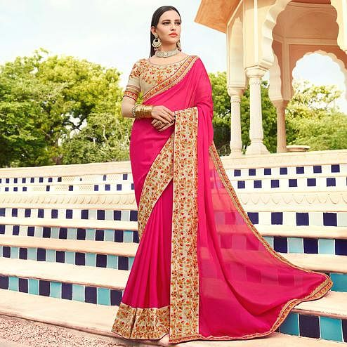 Refreshing Pink Colored Partywear Embroidered Georgette Saree