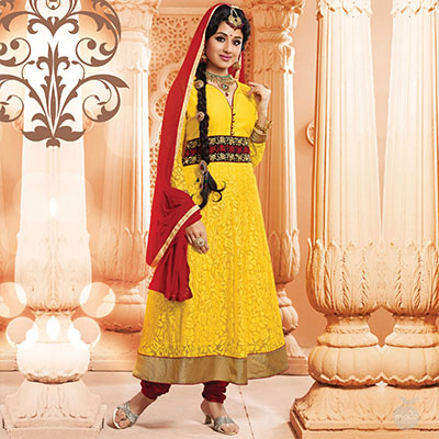 Yellow Embroidered & Shimmer Border Work Anarkali Suit