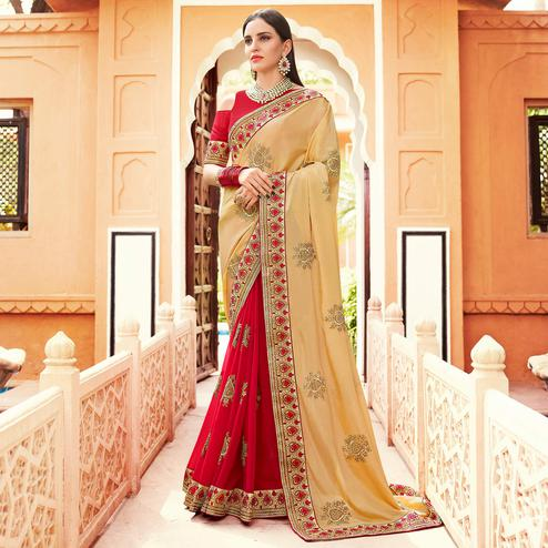 Hypnotic Red-Beige Colored Partywear Embroidered Georgette Half-Half Saree
