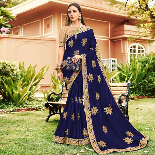 Preferable Navy Blue Colored Partywear Embroidered Georgette Saree