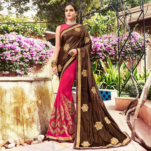 Marvellous Pink-Brown Colored Partywear Embroidered Georgette Half-Half Saree